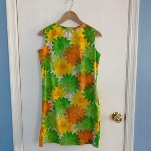 Vintage 60s Mod Flower Power Sheath Summer Dress